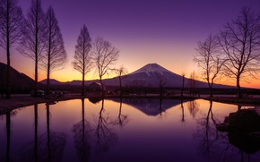 Wallpaper the sky, water, reflection, trees, mountain, spring, morning, Japan, sunrise, Fuji, March, stratovolcano, Mount Fuji, ...