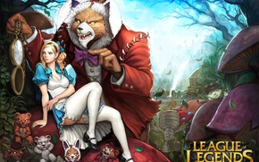 Picture girl, watch, rabbit, bear, art, Alice, league of legends, annie, shen