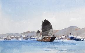 Wallpaper picture, watercolor, seascape, Edward Seago, Junk. Hong Kong
