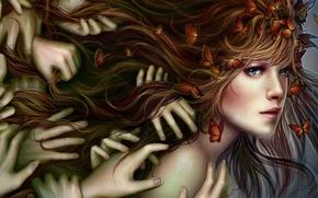 Picture girl, butterfly, hair, hands, Alla Tsyplakova, Alla Tsyplakova