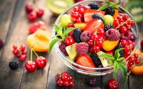 Wallpaper strawberry, BlackBerry, cherry, currants, blackberry, peach, raspberry, berries, raspberry, currant, cherry, kiwi, peach, strawberry