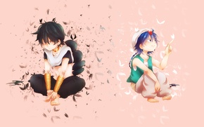 Picture anime, art, birds, guys, aladdin, Magi The Labyrinth of Magic, judal