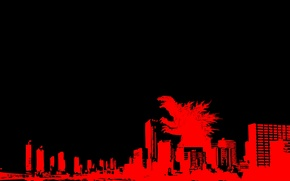 Picture red, the city, skyscrapers, Godzilla, Godzilla