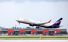 Picture wings, turbine, airport, Boeing, the plane, Boeing, the rise, Aeroflot, passenger, 800, B-737