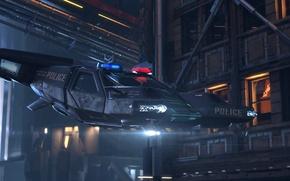 Picture night, the city, transport, police, cyberpunk, Cyberpunk 2077