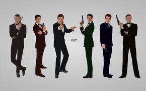 Picture the inscription, guns, grey background, James Bond, Daniel Craig, costumes, Sean Connery, 007, James Bond, ...
