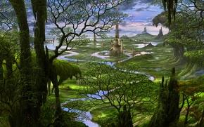 Picture forest, trees, river, castle, tale, Japan, fantasy, art, Japan, fantasy, landscape, castle, fairytales, Kazumasa, Ocio, …