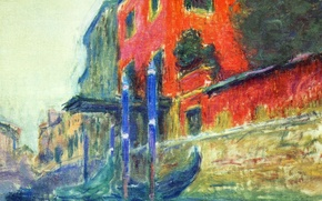 Wallpaper Red House, the city, Venice, boat, gondola, picture, Claude Monet