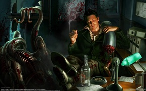 Picture blood, figure, monster, office, cigar, henning lucas
