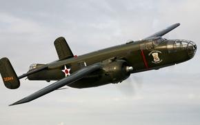 Picture the sky, flight, retro, the plane, bomber, B-25 Mitchel