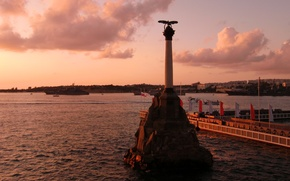 Picture water, clouds, sunset, the city, the evening, hero, Russia, promenade, The black sea, Sevastopol, monument …