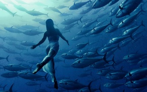 Picture water, light, fish, Girl, depth, dress