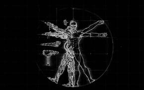 Picture black, figure, people, robot, Leonardo da Vinci, Vitruvian man