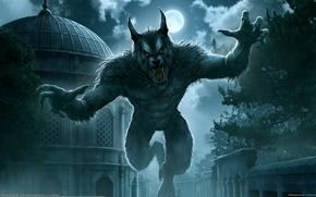 Picture night, the city, fantasy, Kerem Couplets, the full moon, werewolf