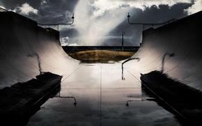 Picture sport, wet, sky, water, clouds, Australia, skate ramp, West Beach, moisturised