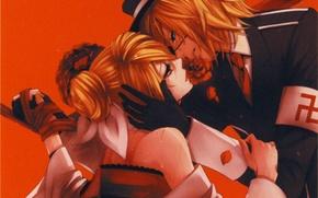 Picture kiss, hands, tears, gloves, vocaloid, Kagamine Rin, red background, art, military uniform, Kagamine Len, Suzunosuke