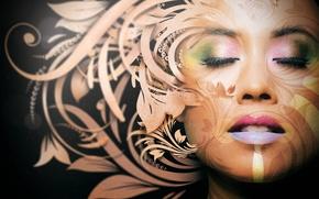 Picture girl, flowers, face, pattern, makeup, art, Thiagoartist
