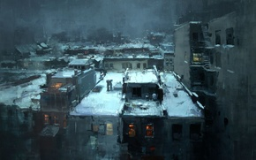 Picture snow, roof, black, jeremy mann, rooftops in the snow, Noir city