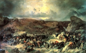 "Picture oil, picture, artist, canvas, 13 Sep 1799"", A. KOTZEBUE, ""the Transition of the troops of …"
