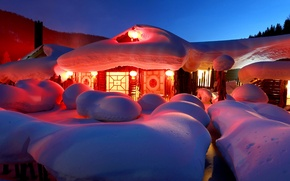 Wallpaper lights, New Year, house, snow, winter, the snow