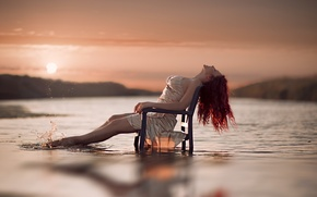 Picture water, girl, chair