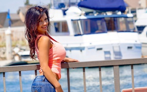 Picture summer, the sun, jeans, denise milani