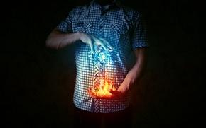 Picture ice, snow, fire, flame, photoshop, Fiction, photoshop, Pyatkov_Denis