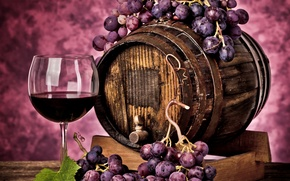 Picture red, berries, wine, glass, grapes, drink, barrel, vine, winemaking, Grapes