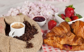 Picture flowers, coffee, grain, Breakfast, strawberry, Cup, drink, bag, jam, croissants, bagels, jam