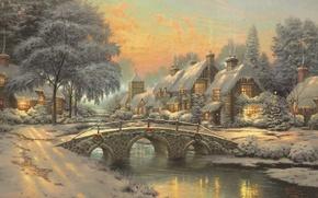 Picture Christmas, town, painting, herringbone, Thomas Kinkade, Thomas Kinkade, cottages