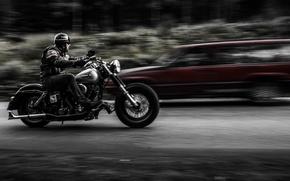 Wallpaper motorcycle, biker, road