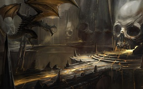 Wallpaper dragon, bridge, art, skull, cave, lava