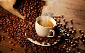 Picture coffee, bag, coffee beans, foam, coffee, bag, coffee aroma, coffee beans, cream coffee aroma