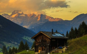 Wallpaper grass, trees, mountains, Switzerland, slope, Alps, house