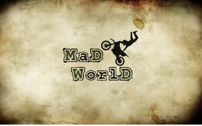 Picture bike, letters, the inscription, moped, spot, motorcycle, crazy world, mad world, beige khaki background