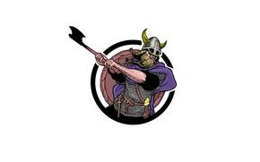 Picture warrior, blow, helmet, axe, Viking
