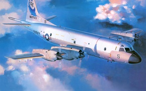 Picture the sky, clouds, figure, art, the plane, Lockheed, Orion, Orion, US NAVY, patrol, Lockheed, coast, …