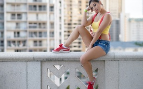 Picture girl, shorts, Asian, t-shirt, sneakers, Kat Sweets