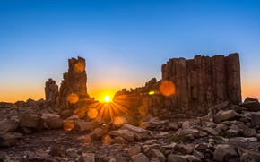 Picture sunset, Rocks, isolated, desertic, erosion