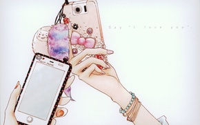 Picture hands, rhinestones, phone, two, mobile, manicure, keychains, Say, I love You