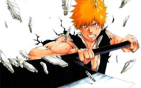 Picture sword, guy, bleach, anime, Kurosaki Ichigo, art