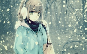 Picture cold, winter, look, girl, snow, hair, anime, bag