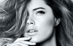 Picture eyes, girl, face, model, hair, Doutzen Kroes, b/W, blonde, lips, beauty, Victoria's Secret Angels, Doutzen ...