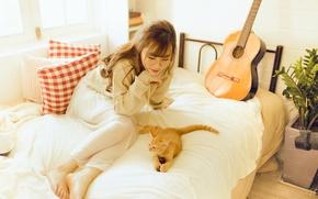Picture cat, girl, guitar