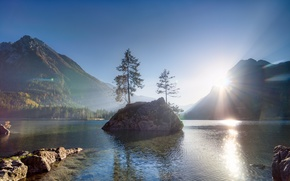 Picture forest, landscape, mountains, nature, lake, morning