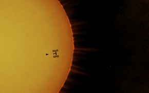 Wallpaper the sun, ISS, space station, Atlantis