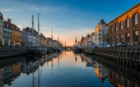 Picture river, home, boats, Europe, channel