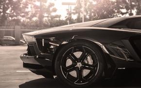 Picture the sun, black, Lamborghini, wheel, disk, black, sun, rim, aventador, lp700-4, Lamborghini, aventador, back