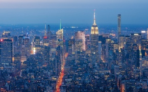 Picture Manhattan, New York City, Manhattan, panorama, skyscrapers, night city, New York, building