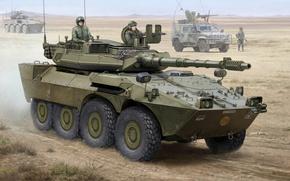 Picture caliber, art, 105 mm, mark, Italian, fighter, heavy, B1 Centaur, armored car, also, B1 Centauro, …
